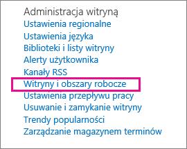 Sekcja Witryny i obszary robocze na stronie Ustawienia witryny