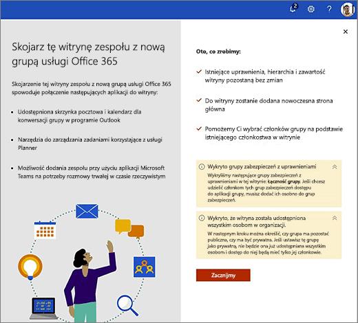 Ten obraz przedstawia pierwszy ekran kreatora tworzenia nowego pakietu Office 365.