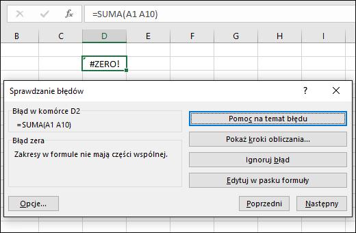 Przenoszenie okna dialogowego Sprawdzanie błędów poniżej paska formuły