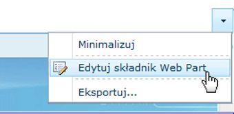 Klikanie pozycji Edytuj składnik Web Part