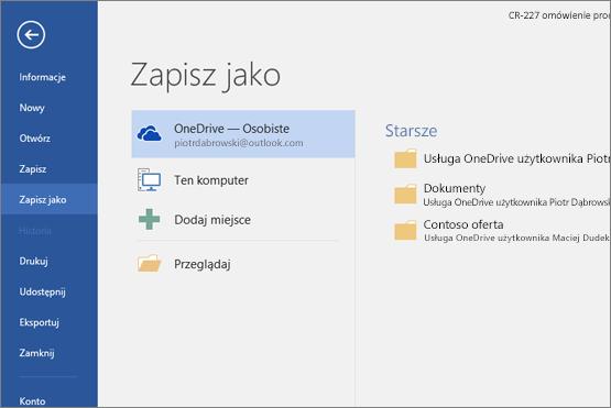 Opcja Zapisz jako w wybraną domyślnie usługą OneDrive