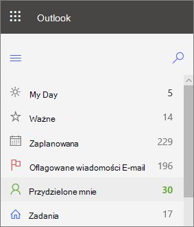 Zrzut ekranu przedstawiający lewy przycisk nawigacyjny dla aplikacji Outlook dla sieci Web, który jest przypisany do mnie bezpośrednio po oflagowanym adresie E-mail
