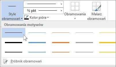 Style obramowań tabeli