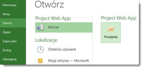 Przycisk Przeglądaj umożliwiający otwarcie pliku aplikacji Project Web App