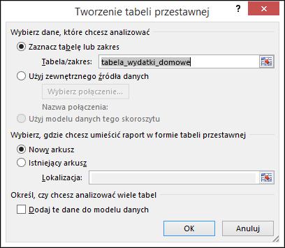 Okno dialogowe Tworzenie tabeli przestawnej w programie Excel
