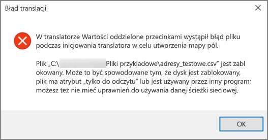 To jest komunikat o błędzie wyświetlany, jeśli plik csv zawiera nieprawidłowo sformatowane dane.