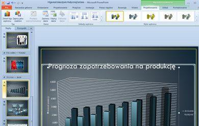 Karta Narzędzia wykresów jest wyświetlana po kliknięciu wykresu.