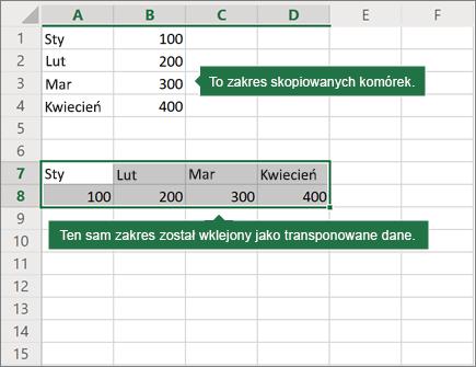 Przykład zastosowania funkcji wklejania