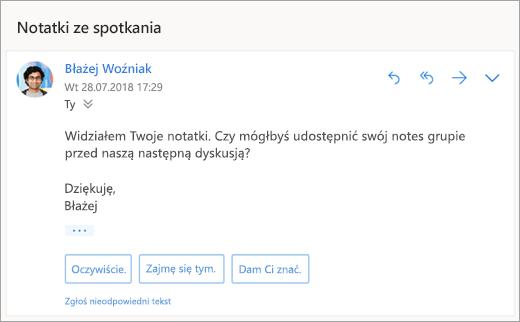 Zrzut ekranu przedstawiający sugerowane odpowiedzi
