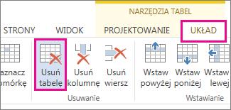 Obraz przycisku Usuń dostępnego na karcie Układ w obszarze Narzędzia na Wstążce.