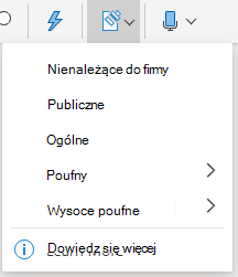 Przycisk czułość i menu rozwijane w pakiecie Office w sieci Web