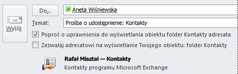 Prośba o udostępnienie folderu Kontakty innej osoby w programie Exchange