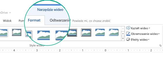 """Po zaznaczeniu klipu wideo na slajdzie zostanie wyświetlona sekcja """"Narzędzia wideo"""" na wstążce z paskiem narzędzi, która zawiera dwie karty: Formatowanie i Odtwarzanie."""