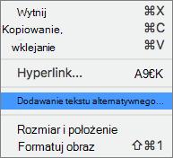 Menu kontekstowe podczas dodawania tekstu alternatywnego do obrazu w programie Outlook.