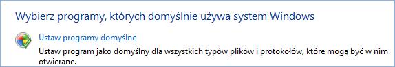 Zrzut ekranu przedstawiający okno ustawiania programów domyślnych