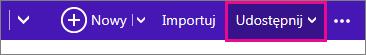 Usługa Outlook.com — kliknięcie przycisku Udostępnij w celu wybrania kalendarza