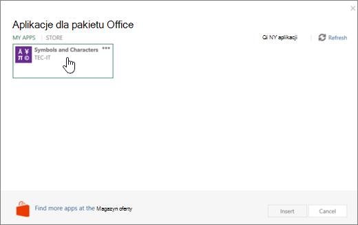 Zrzut ekranu przedstawia kartę Moje aplikacje stronie aplikacje dla pakietu Office.