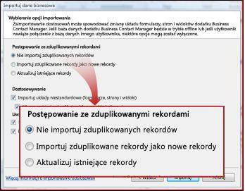 Okno importu, sekcja duplikatów