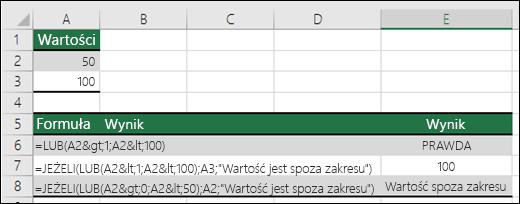 Przykłady użycia funkcji LUB z funkcją JEŻELI.