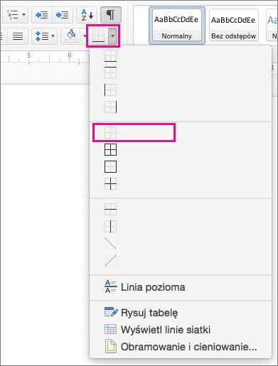 Pozycja Brak krawędzi wyróżniona w menu Obramowanie.