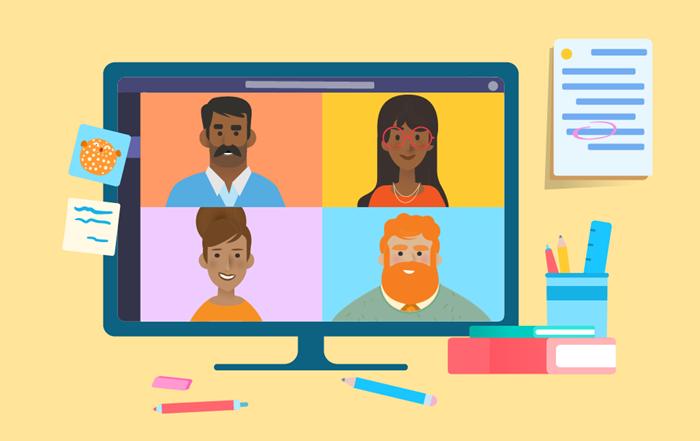 Twarze czterech osób widoczne w połączeniu online.