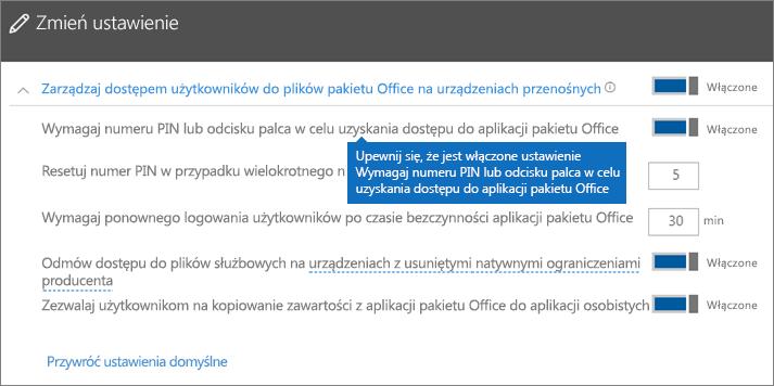 Upewnij się, że jest włączone ustawienie Wymagaj numeru PIN lub odcisku palca w celu uzyskania dostępu do aplikacji pakietu Office.