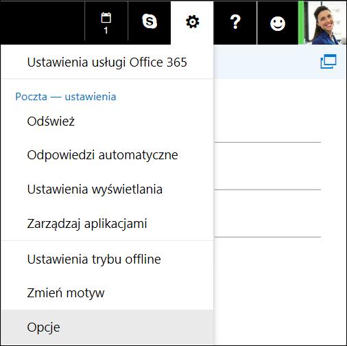 Opcje ustawień aplikacji Outlook w sieci Web