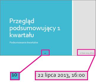 Dodawanie daty i godziny oraz numerów slajdów
