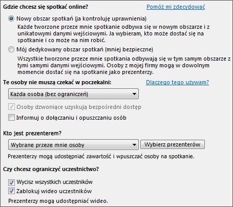 Zrzut ekranu: opcje spotkania z wybranymi opcjami odpowiednimi dla dużej liczby odbiorców