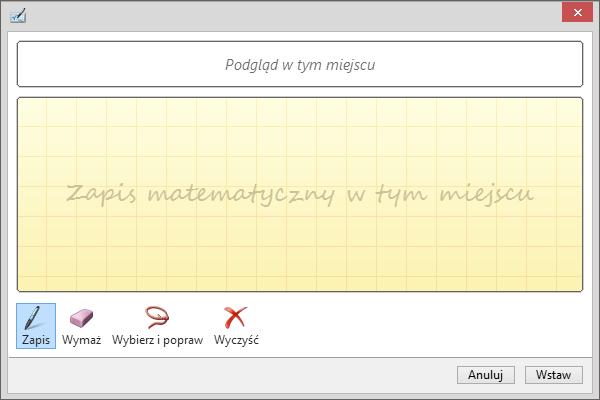 Okienko równania odręcznego w programie PowerPoint