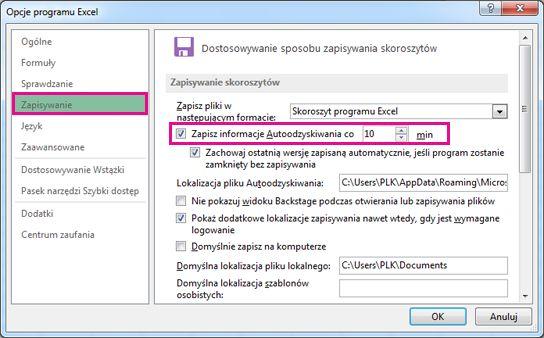 Opcja Zapisywanie w oknie dialogowym Opcje programu Excel