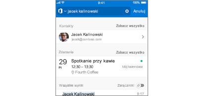 Kalendarz aplikacji Outlook Mobile z spotkaniami w wynikach wyszukiwania