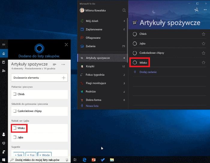 Zrzut ekranu przedstawiający zarówno Cortana, jak i To-Do Microsoft Otwórz w systemie Windows 10. Mleka został dodany do listy zakupów za pomocą Cortana i jest również dostępne na liście zakupów w To-Do firmy Microsoft