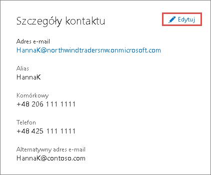 Korzystanie z danych kontaktowych do zaktualizowania informacji dotyczących administratora