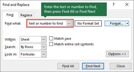 Naciśnij klawisze CTRL + F, aby uruchomić okno dialogowe Znajdowanie