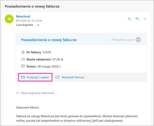 Zrzut ekranu przedstawiający Przegląd i przycisk płac