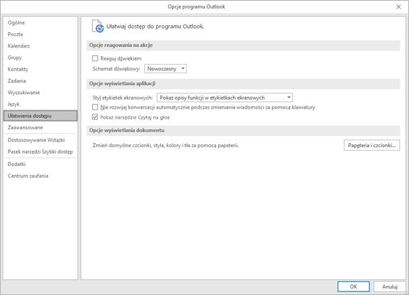 Ustawienia ułatwień dostępu w programie Outlook.