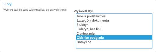 Opcje stylów na stronie Ustawienia widoku