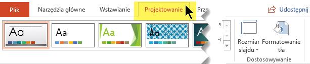 Wybierz kartę Projektowanie na pasku narzędzi wstążki. Przycisk menu Rozmiar slajdu przy prawej krawędzi zawiera kontrolkę orientacji slajdów.
