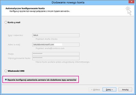 Wybierz pozycję ręcznie Konfiguruj ustawienia serwera lub dodatkowe typy usług.