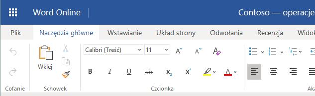 Wstążka w aplikacji Word Online