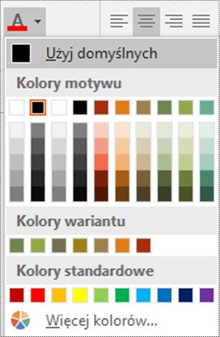 Menu Kolor czcionki w programie Visio.
