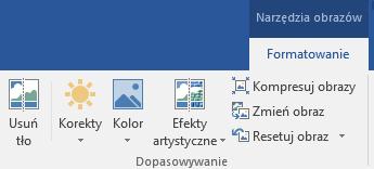 Przycisk Usuń tło widoczny na karcie Formatowanie w obszarze Narzędzia obrazów na Wstążce w pakiecie Office 2016