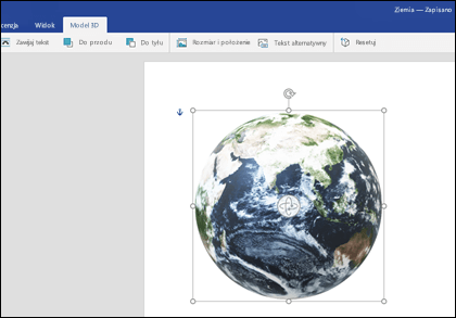 Zakładka modelu 3D programu Word