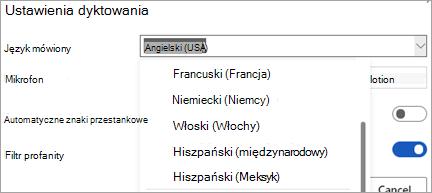 Języki, w których można dyktować