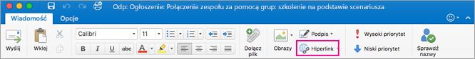 Przycisk Hiperlink na wstążce programu Outlook dla komputerów Mac