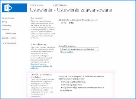 Zrzut ekranu strony ustawień zaawansowanych w bibliotece dokumentów programu SharePoint