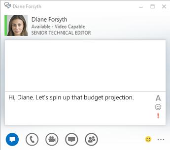 Zrzut ekranu okna konwersacji przy użyciu wiadomości błyskawicznych
