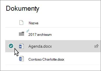 Zrzut ekranu przedstawiający biblioteki z wybraną kartą plik