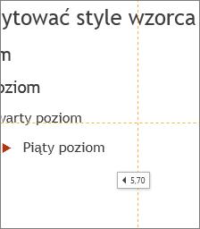 Znacznik określający odległość od środka slajdu